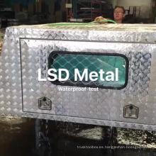 Caja de herramientas de aluminio Ute Canopy con patas de gato y ventanas y prueba impermeable