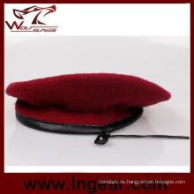 Barett Armee Barett rote Mütze 100 % Wolle Baskenmütze