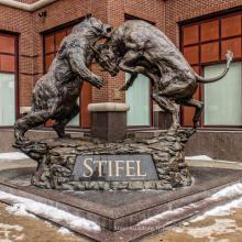 grand extérieur en métal cuivre artisanat ours taureau statue