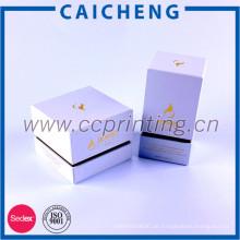 Weiße Augen-Creme-Glas-Glas-Kasten-Kosmetik-Verpackung, Luxuspappekosmetische Geschenkbox mit EVA