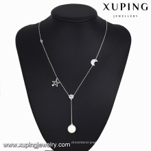 necklace-00107-fashion jewelry indonesia long moon star pearl necklace