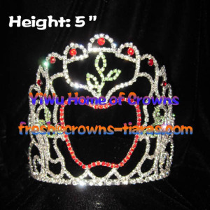 5inch Rhinestone Apple Crowns Which Suit For Fall Pageant
