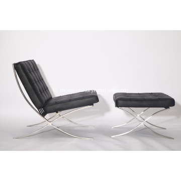 Leather Barcelona chair and stool replica YADEA
