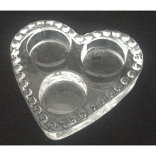Verre coeur forme 3 bougies chauffe-plat