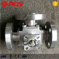 3 vias flangeadas válvula de esfera de aço inoxidável dn32