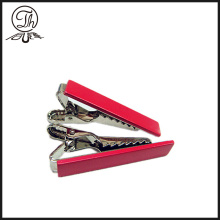 Skinny red blank tie bar metal