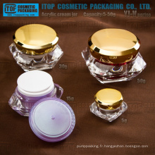 YJ-V Series 5g 15g 30g 50g haute clear pot acrylique diamant