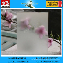 4-12mm Acid Etched Glass and Frosted Glass