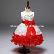 Neue Mode Baby Mädchen Leistung Kleid 2017 meistverkaufte geschnürt Mesh Geburtstag Kleid für Mädchen von 7 Jahren alt mit Kurzarm