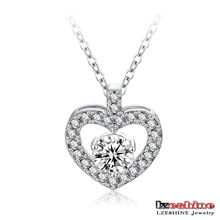 Heart Shaped Hearts&Arrows Zircon Pendant Necklace (CNL0044-B)