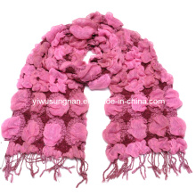 Lady′s Fashion Pink Winter Warm Chunky Ruffle Bubble Scarfs