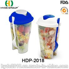 Vaso de coctelera de ensalada de plástico de varios colores con horquilla (HDP-2018)