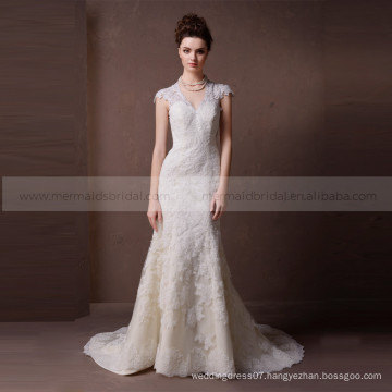 Sweet and lovely V neck hollowed - out back mermaid high quality lace wedding dress