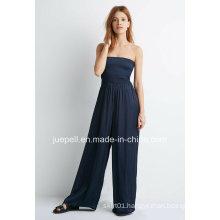 2015 New Design Strapless Smocked Wide-Leg Jumpsuit