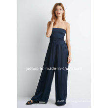 2015 New Design Sem alças Smocked Wide-Jumpsuit