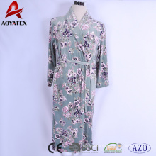 Super soft microfiber floral printed new style micromink women bathrobe