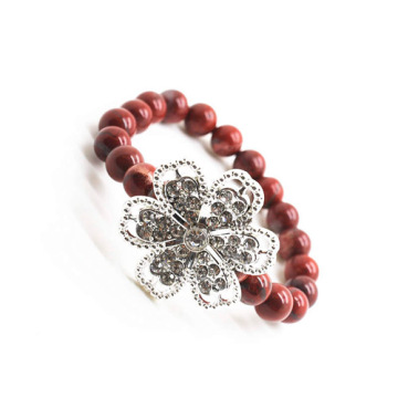 Pulsera de Piedras Preciosas Red Jasper 8MM Stretch con Diamante alloy Flower Piece