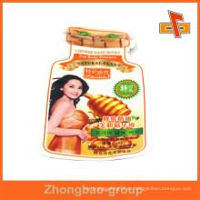 China OEM fábrica aséptico laminado de plástico personalizado en forma de bolsa con la impresión