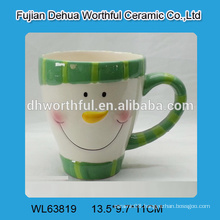 2016 new design ceramic water cup with snowman face pattern