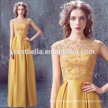 Elegante vestido de noche de oro amarillo largo vestido de satén amarillo vestidos de baile 2017