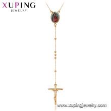 44896 Xuping nova imagem de moda foto moldura jesus cruz rosário colar