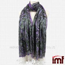 Mantón de cachemira modal de lila con fleco