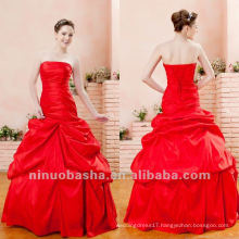 Youth Red Ball Gown Ruffles Strapless Corset Closure Brush Train Quinceanera Dress Sweet Party Gown