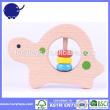 Hölzerne Schildkröte geformte Baby Rassel Spielzeug