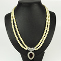 Double Strand Pearl Necklace with Gems Pendant