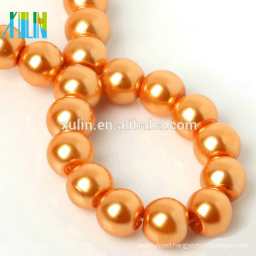 wholesale 3-16mm round orange pearl necklace glass beads           XULIN Charm Glass Pearl Necklace Fashion Jewelry Pearl Beads