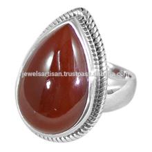 Spätester Entwurfs-roter Onyx-Edelstein 925 Sterlingsilber-Ring