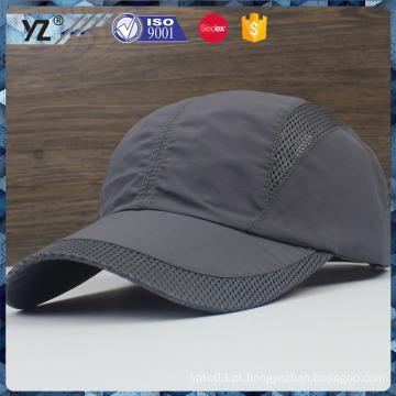 Poliéster personalizado / tecido de malha fivela de metal simples esportes caps