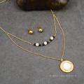 Collier de perles tour de cou Dainty Big Shell pendentif indien bijoux de mariée or ensemble