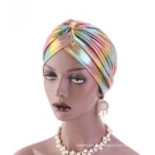 Shinning Polyester Haar Stirnband Bandanas Turban Hut