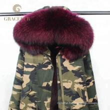 Chine fournisseur armée vert femmes hiver militaire parka véritable fourrure