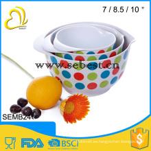 3 piezas de tazón de mezcla de melamina con impresión