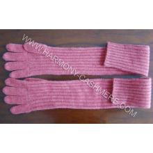 Costura de cachemira guantes largos tejidos