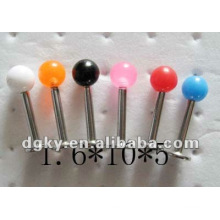 1.6mm aço inoxidável barra de lábio piercing parafuso de rosca acrílico contas labret