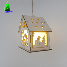 LED Light Wood House Christmas Tree Hanging Lamp