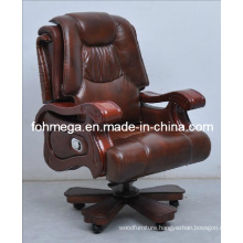 Wooden Frame Genuine Leather Swivel Executive Chair Foh-1313