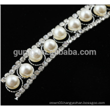 rhinestone trim chain with pearl trimmings for dresses