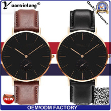 Yxl-007 2016 Fashion Men′s Watch Genuine Leather Stainless Steel Dw Model Black Face Quartz Watch