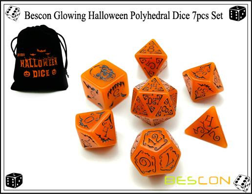 Bescon Glowing Halloween Polyhedral Dice 7pcs Set-4