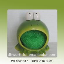 Soporte de esponja de cerámica en forma de rana encantadora