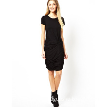 Summer New Design Short Sleeve Bodycon Fashion Dress with Double Knot Skirt (JK075)