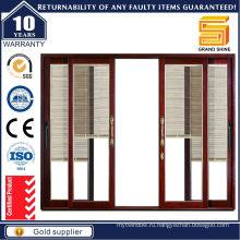 Двери с двойным остеклением серии 7150 Алюминиевые раздвижные двери с подвижным жалюзи