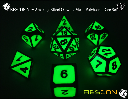 BESCON New Amazing Effect Glowing in the Dark Metal Polyhedral Role Playing RPG Game Dice Set of 7-5