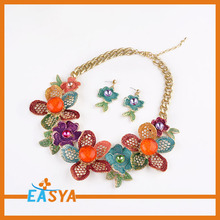 Big Flower Necklace Gold Plated Colorful Jewelry Set