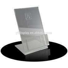 Porte-carte de restaurant en acrylique transparent avec base noire
