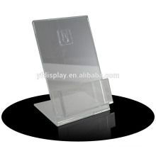 clear acrylic restaurant menu card holder with black base
